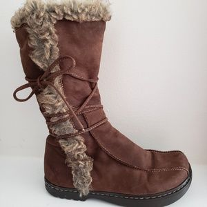 Earth Boots Alaska Suede Faux Fur Tie Comfort 7